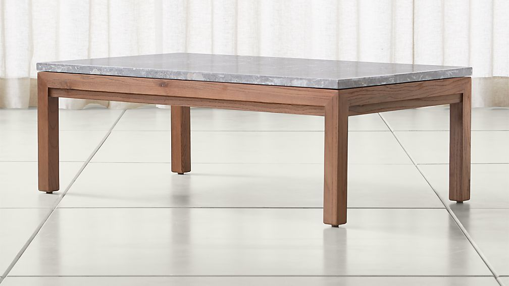 Parsons grey marble top elm base 48x28 small rectangular for Marble top coffee table rectangle