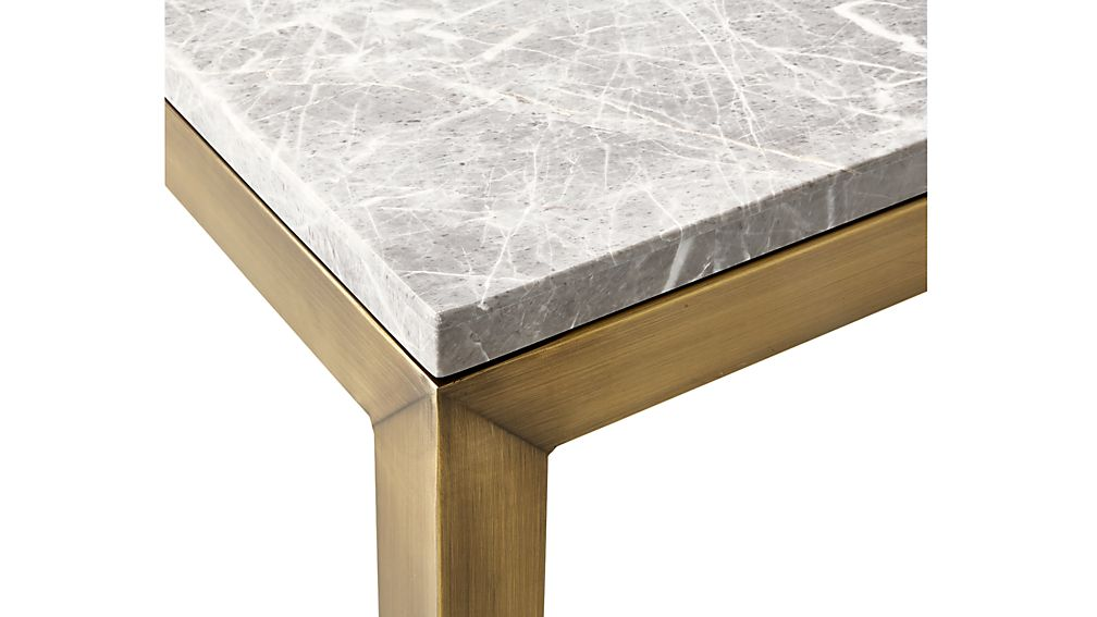 Parsons Grey Marble Top/ Brass Base 48x28 Small Rectangular Coffee Table