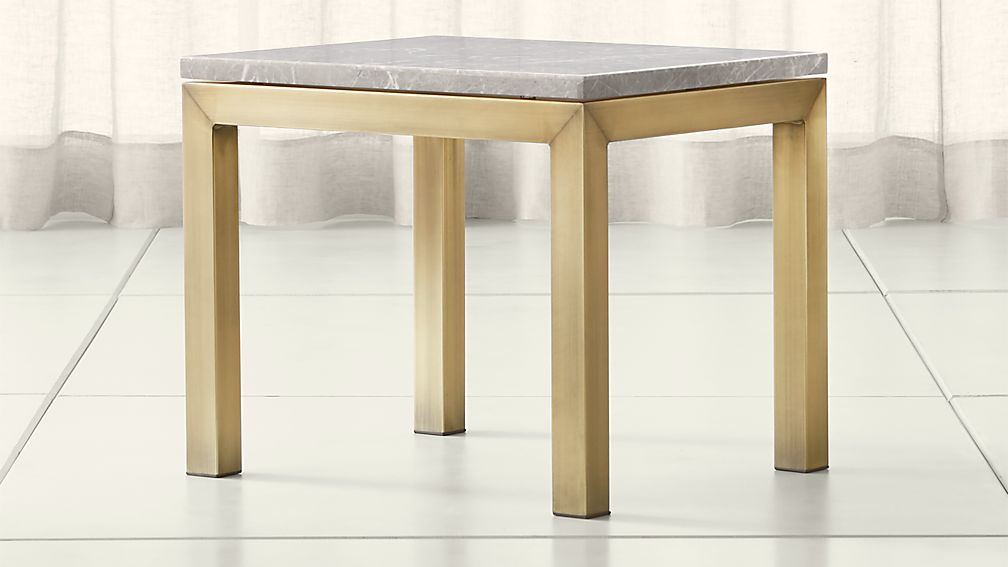 Parsons Grey Marble Top/ Brass Base 20x24 End Table - Image 1 of 4