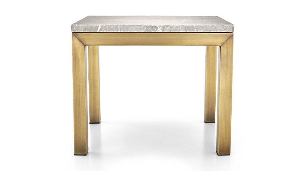 Parsons Grey Marble Top/ Brass Base 20x24 End Table