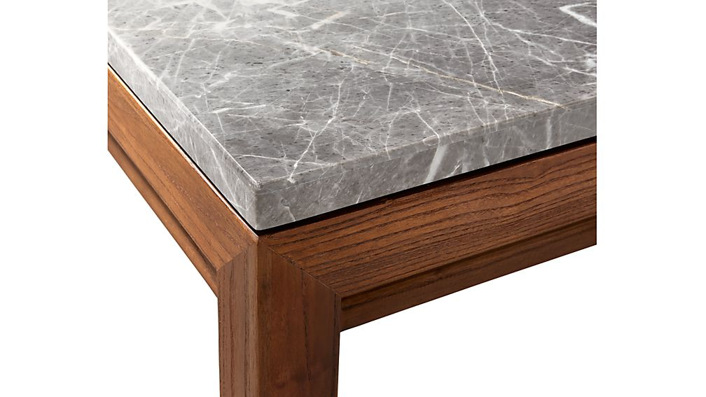 Parsons Grey Marble Top Elm Base 48x28 Small Rectangular Coffee Table