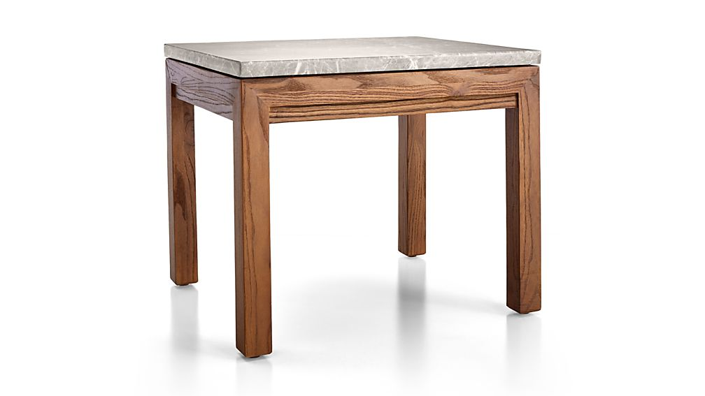 Parsons Grey Marble Top/ Elm Base 20x24 End Table