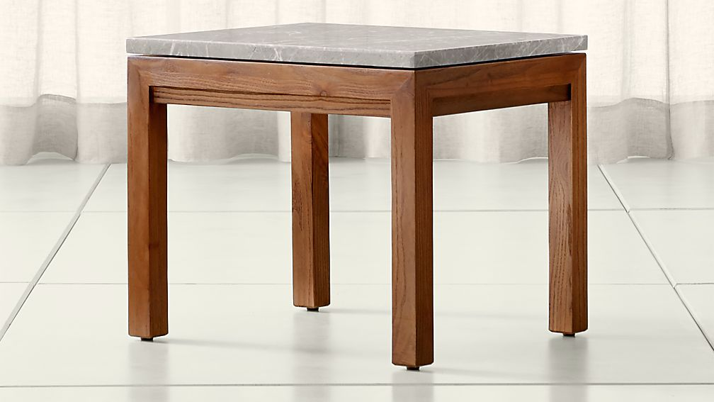 Parsons Grey Marble Top/ Elm Base 20x24 End Table - Image 1 of 4