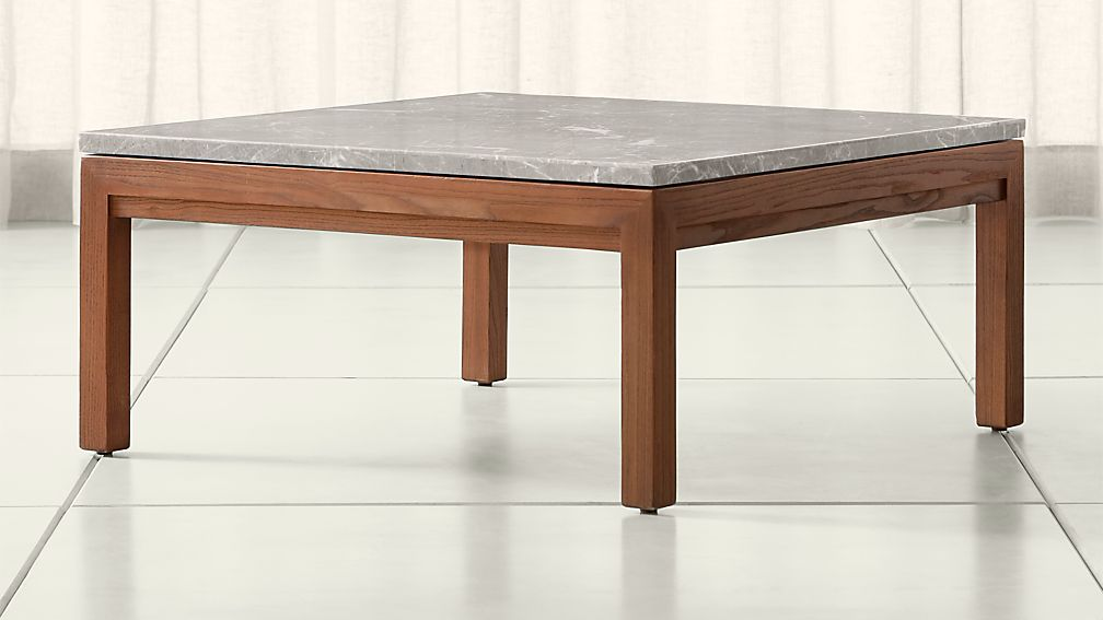 Parsons Grey Marble Top Elm Base 36x36 Square Coffee Table Crate And Barrel