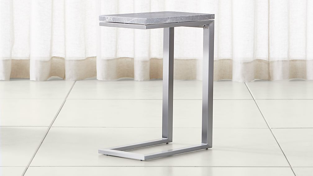 Parsons Grey Marble Top/ Stainless Steel Base 20x12 C Table