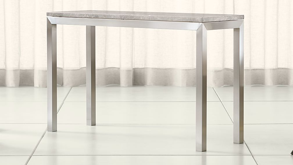 Parsons Grey Marble Top/ Stainless Steel Base 48x16 Console