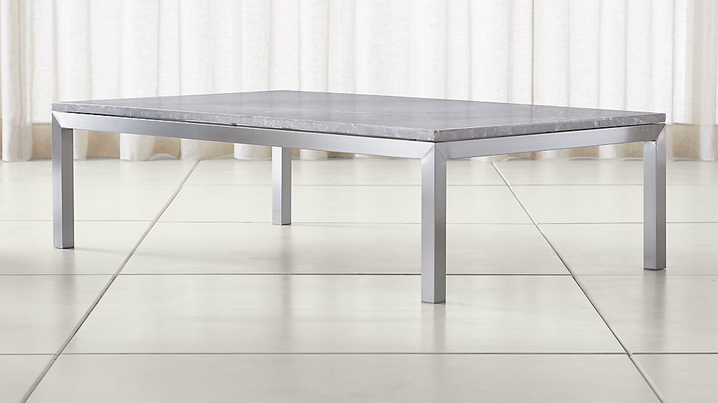 Parsons Grey Marble Top/ Stainless Steel Base 60x36 Large Rectangular Coffee  Table ...