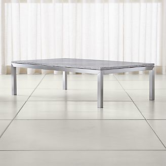 Parsons Grey Marble Top/ Stainless Steel Base 60x36 Large Rectangular Coffee  Table
