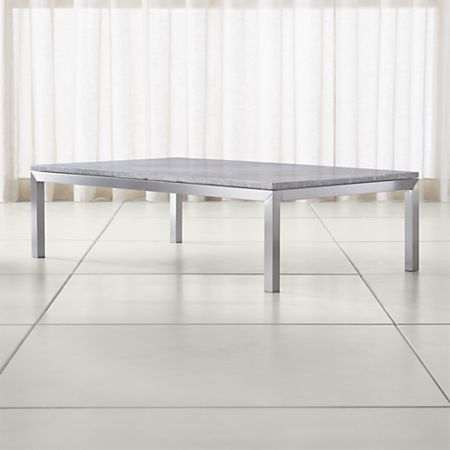 Parsons Grey Marble Top Stainless Steel Base 60x36 Large Rectangular Coffee Table Crate And Barrel