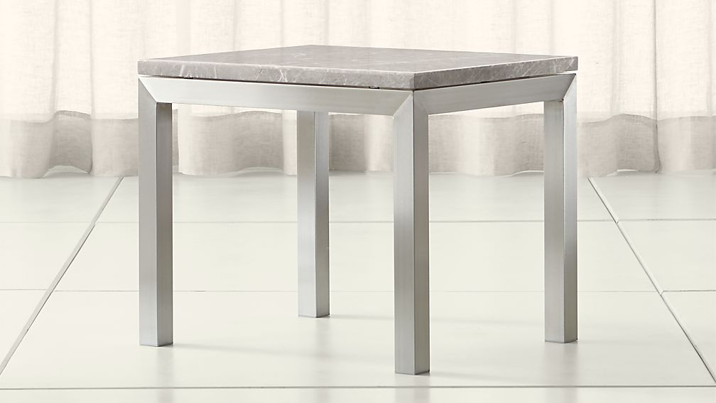 Parsons Grey Marble Top/ Stainless Steel Base 20x24 End Table - Image 1 of 4