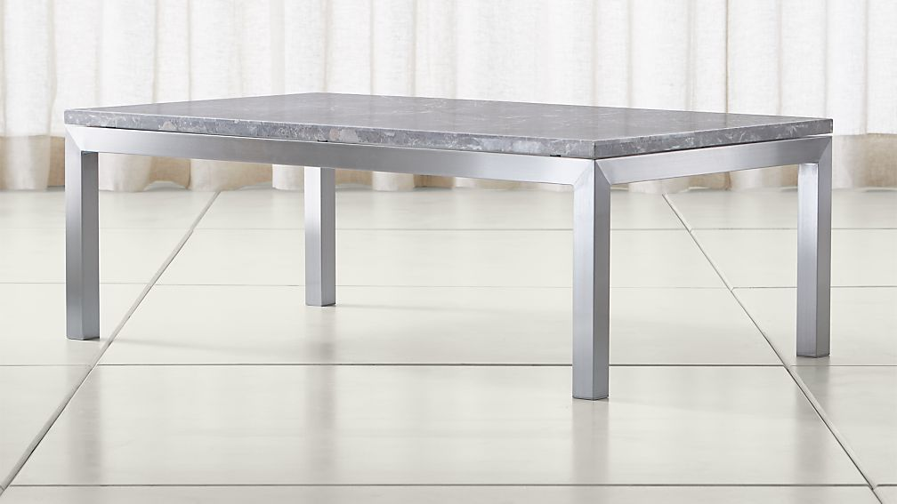 Parsons Grey Marble Top Stainless Steel Base 48x28 Small Rectangular Coffee Table Reviews Crate And Barrel