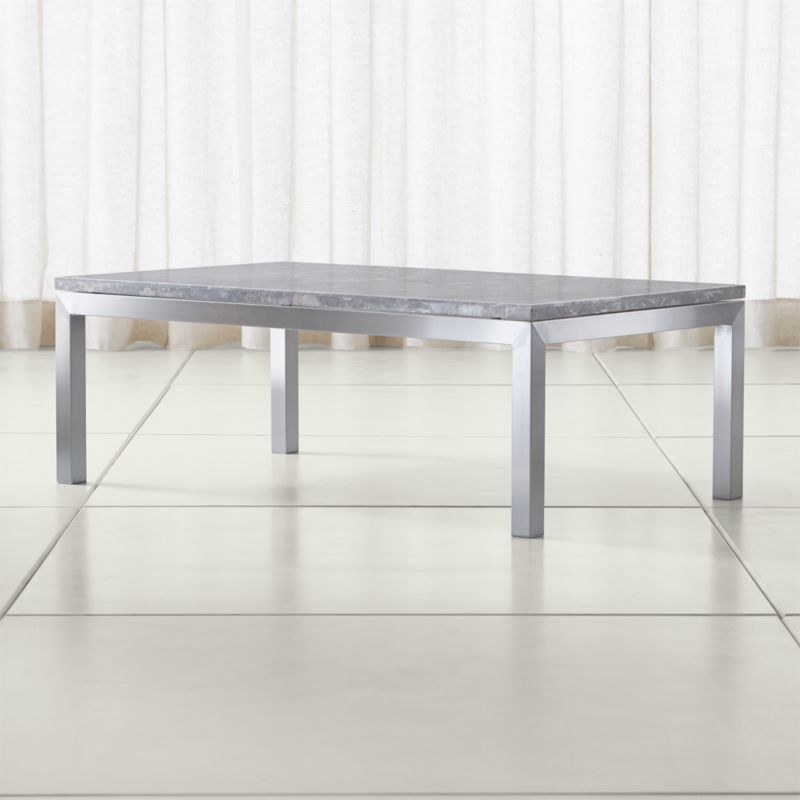 Nestor Black Marble Square Coffee Table On A Metal Base: Parsons Grey Marble Top/ Stainless Steel Base 48x28 Small