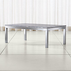Parsons Grey Marble Top Stainless Steel Base 48x28 Small Rectangular Coffee Table