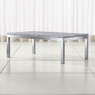 Parsons Grey Marble Top/ Stainless Steel Base 48x28 Small Rectangular Coffee Table