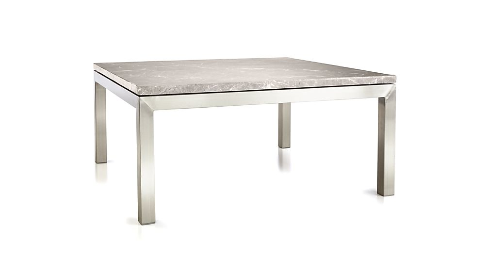 Parsons Grey Marble Top/ Stainless Steel Base 36x36 Square Coffee Table