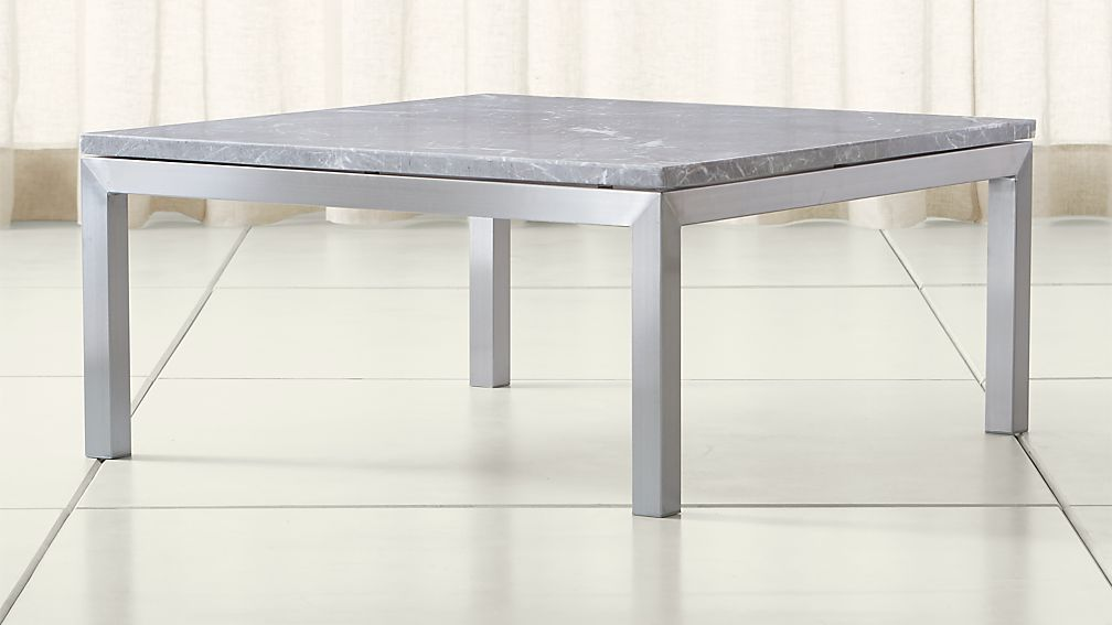 Parsons Grey Marble Top Stainless Steel Base 36x36 Square Coffee Table Crate And Barrel