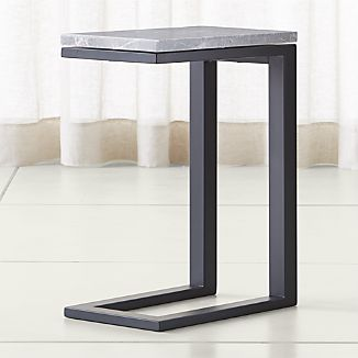 Parsons Grey Marble Top/ Dark Steel Base 20x12 C Table