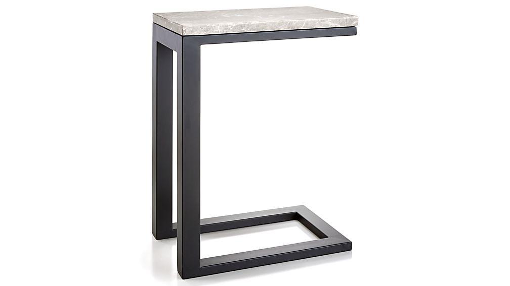 Parsons Grey Marble Top/ Dark Steel Base 20x12 C Table