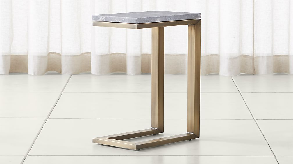 Parsons Grey Marble Top/ Brass Base 20x12 C Table