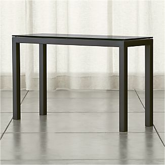 Parsons Dark Steel Console Table with Grey Glass Top