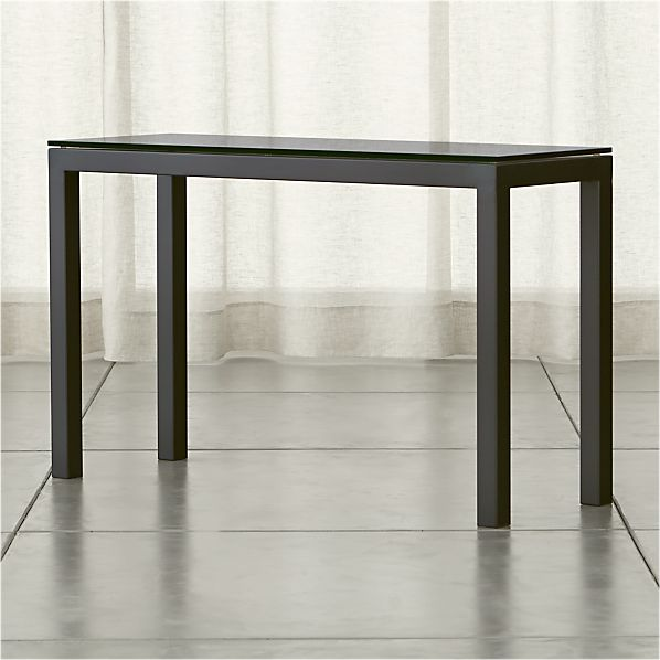 Parsons Grey Glass Top/ Dark Steel Base 48x16 Console