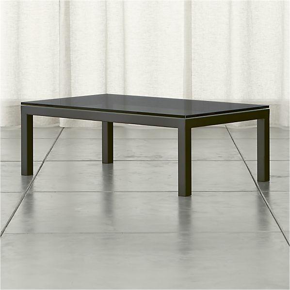 Parsons Grey Glass Top/ Dark Steel Base 48x28 Small Rectangular Coffee Table