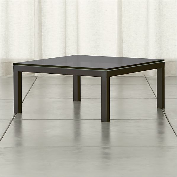 Parsons Grey Glass Top/ Dark Steel Base 36x36 Square Coffee Table