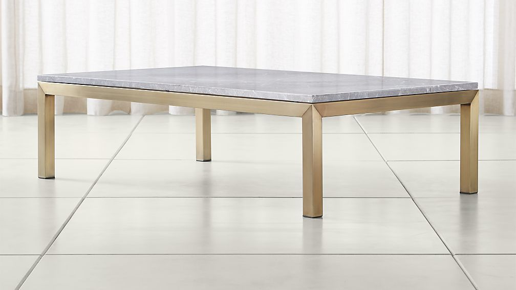 Parsons Grey Marble Top Br Base 60x36 Large Rectangular Coffee Table Reviews Crate And Barrel