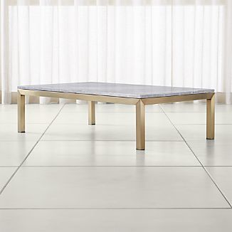 Parsons Grey Marble Top/ Brass Base 60x36 Large Rectangular Coffee Table