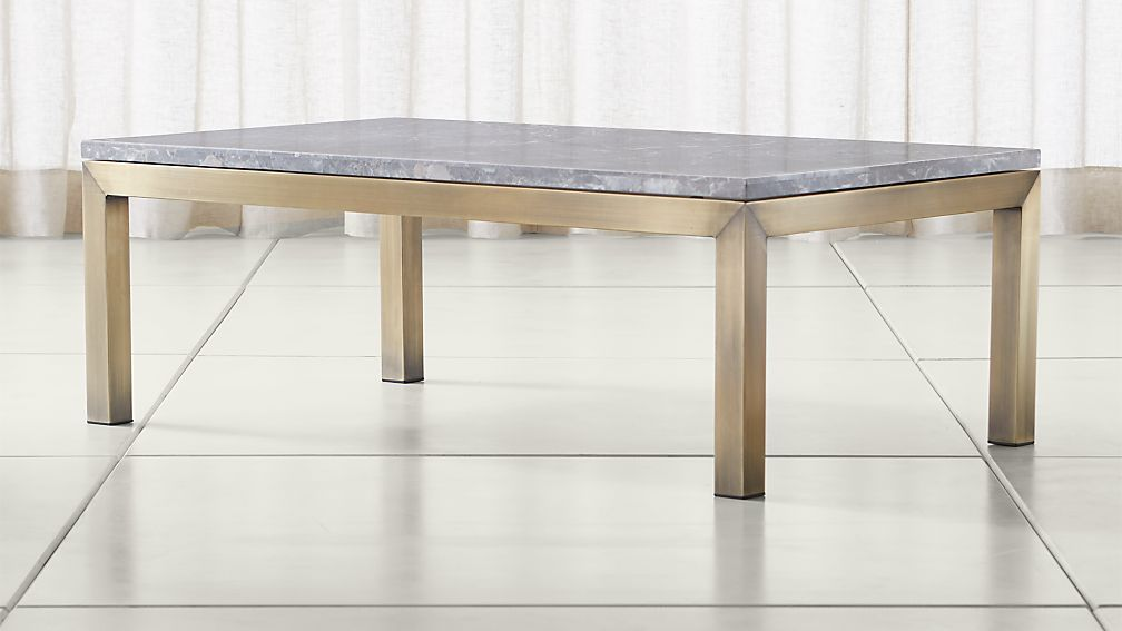Parsons Grey Marble Top/ Brass Base 48x28 Small Rectangular Coffee Table ...