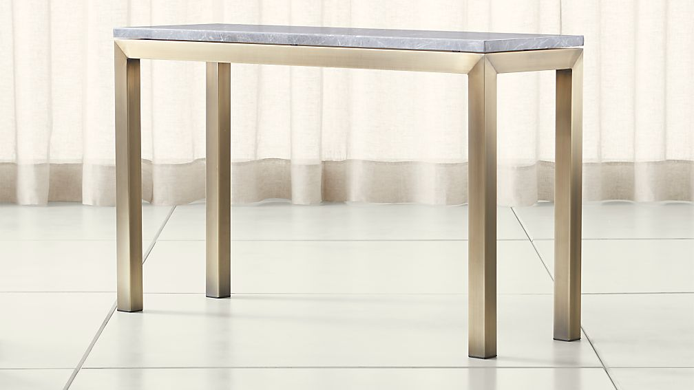 Parsons Grey Marble Top/ Brass Base 48x16 Console - Image 1 of 4
