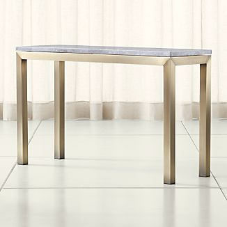 Parsons Grey Marble Top/ Brass Base 48x16 Console