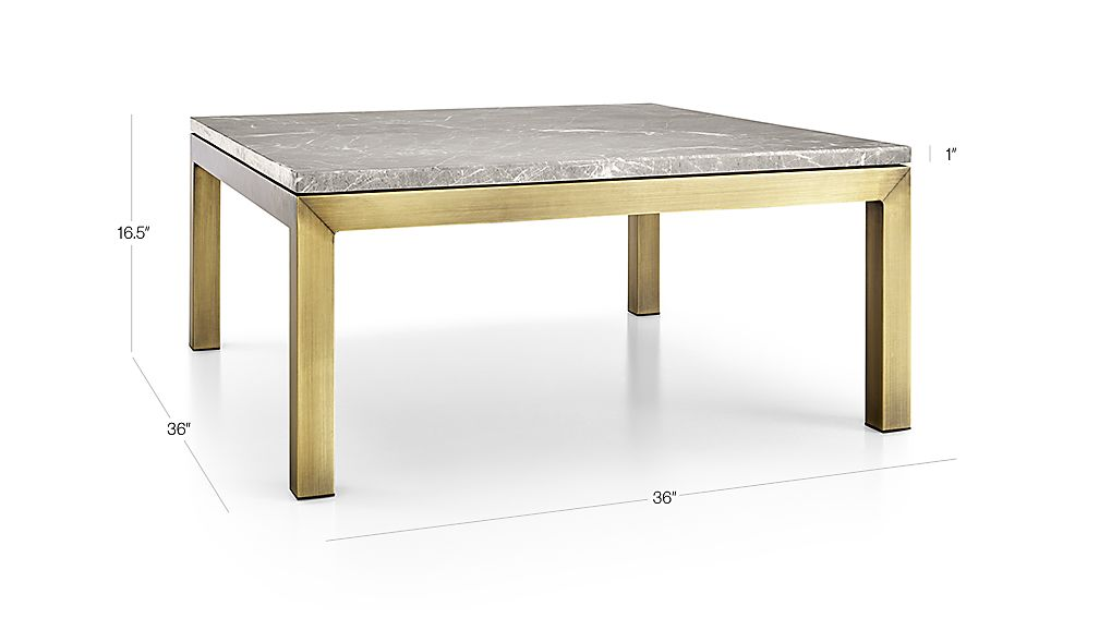 TAP TO ZOOM Image With Dimension For Parsons Grey Marble Top/ Brass Base  36x36 Square Coffee Table