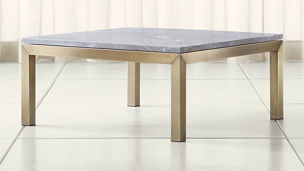 Parsons Grey Marble Top Br Base 36x36 Square Coffee Table Reviews Crate And Barrel