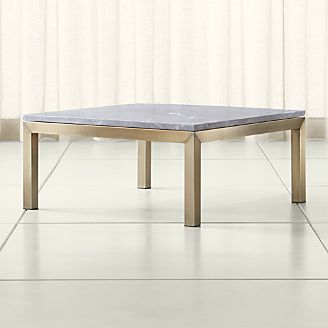 Parsons Grey Marble Top Br Base 36x36 Square Coffee Table