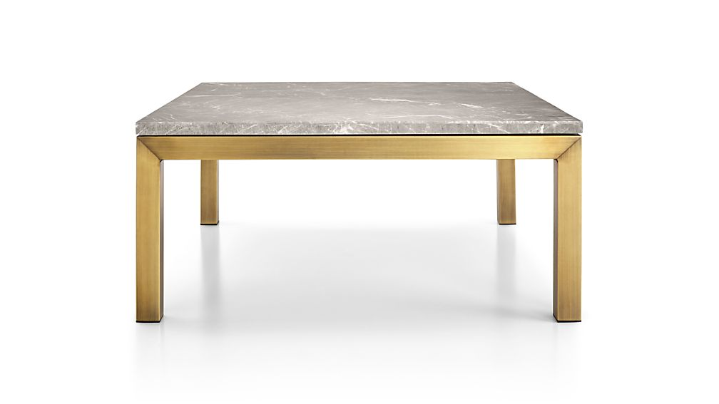 Parsons Grey Marble Top/ Brass Base 36x36 Square Coffee Table