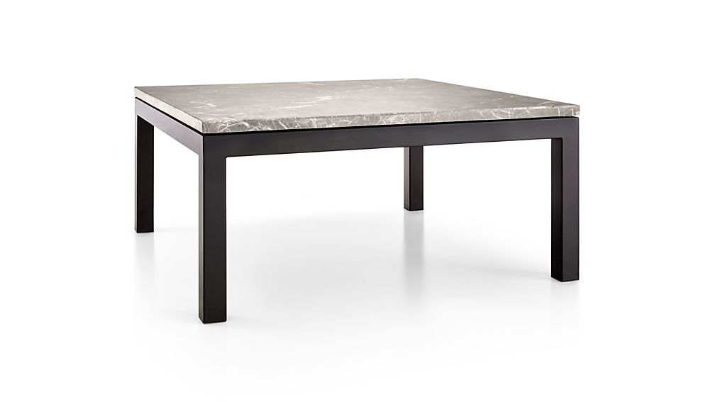 Parsons Grey Marble Top/ Dark Steel Base 36x36 Square Coffee Table