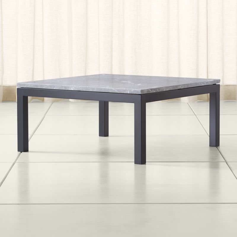 Great Parsons Grey Marble Top/ Dark Steel Base 36x36 Square Coffee Table