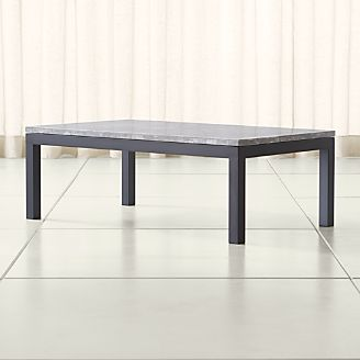 Parsons Grey Marble Top Dark Steel Base 48x28 Small Rectangular Coffee Table