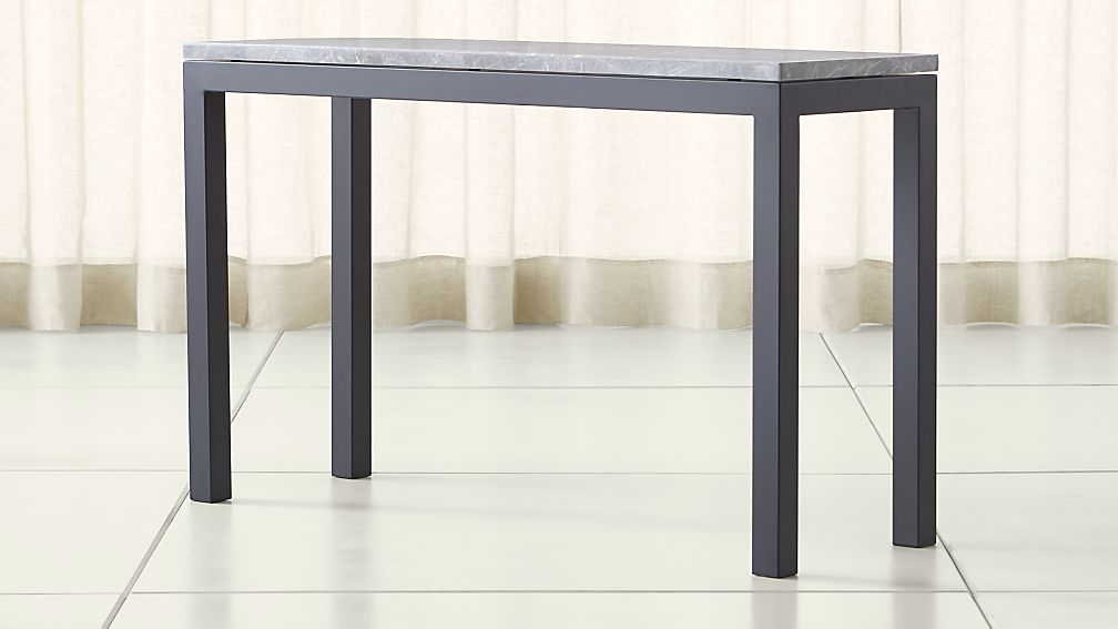 Parsons Grey Marble Top/ Dark Steel Base 48x16 Console - Image 1 of 4
