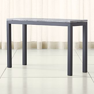 Parsons Grey Marble Top/ Dark Steel Base 48x16 Console