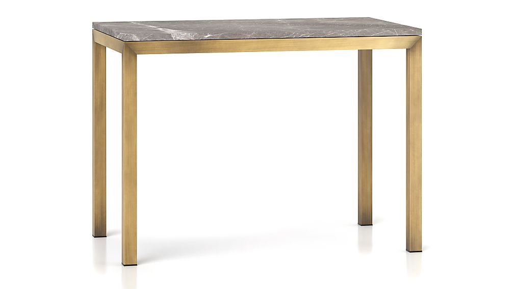 Parsons Grey Marble Top/ Brass Base 48x28 High Dining Table