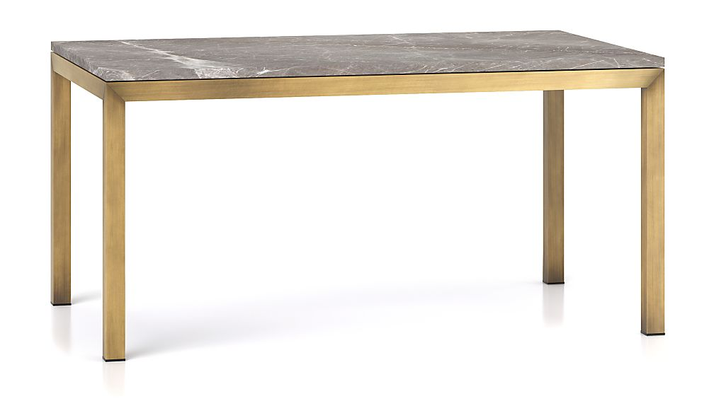 Parsons Grey Marble Top/ Brass Base 60x36 Dining Table
