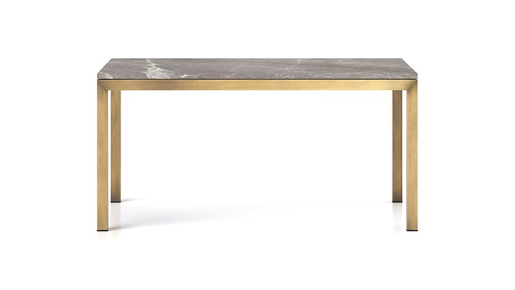 Parsons Grey Marble Top/ Brass Base 72x42 Dining Table