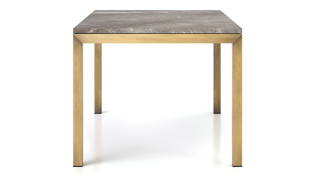 Parsons Grey Marble Top/ Brass Base 48x28 Dining Table