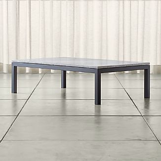 Parsons Grey Marble Top/ Dark Steel Base 60x36 Large Rectangular Coffee Table