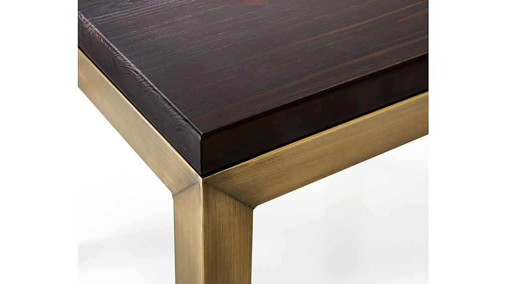Parsons Pine Top Brass Base 48x28 Small Rectangular Coffee Table