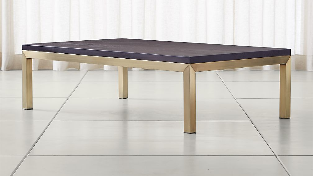 Parsons Pine Top/ Brass Base 60x36 Large Rectangular Coffee Table