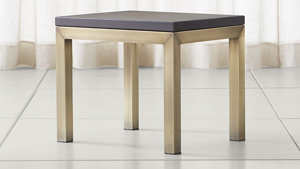 Parsons Pine Top/ Brass Base 20x24 End Table - Image 1 of 4
