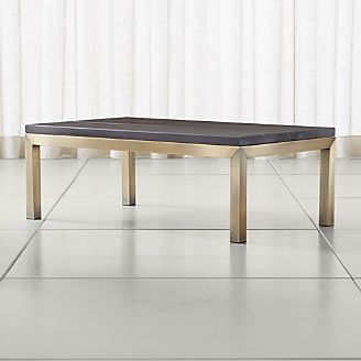 Parsons Pine Top  Brass Base 48x28 Small Rectangular Coffee Table. Coffee Tables   Crate and Barrel